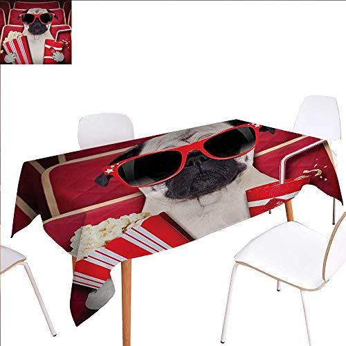 """familytaste Pug Customized Tablecloth Funny Dog Watching Movie Popcorn Soft Drink and Glasses Animal Photograph Print Stain Resistant Wrinkle Tablecloth 52""""x70"""" Red Cream Ruby"""