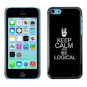TopCaseStore / la caja del caucho duro de la cubierta de protección de la piel - Keep Calm Black Trek Sci-Fi - Apple iPhone 5C