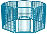 IRIS 34'' Exercise 8-Panel Pet Playpen with Door, Blue Moon