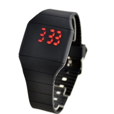 TRIXES Reloj Digital de Silicona Negro con Pantalla LED Roja Funcionamiento con un Solo Botón: Amazon.es: Joyería