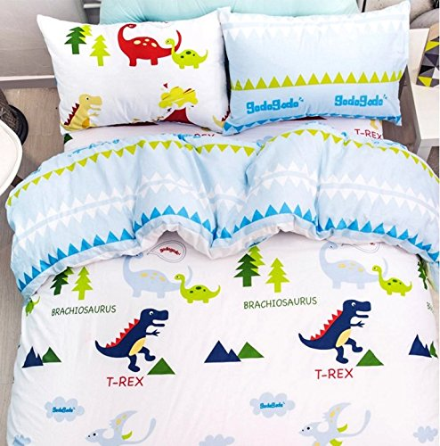 LELVA Dinosaur Bedding Sets,anime Bed Sheets Set,cute Kids Queen Size Cartoon Bedding Set,4pcs (2, Full)