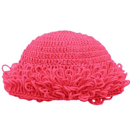 BIBITIME Grandma Knitted Beanie Hat Handmade Curly Hairstyle