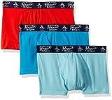 Original Penguin Men's Cotton Basic 3 Pack Knit Trunk, Blue, Red, Blue, L