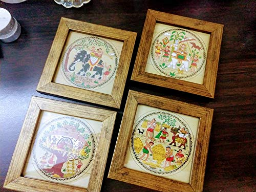 Mati Ke Laal Traditional Design Framed Coasters Set of 4 – Coasters for Coffee Table Dining Table Tea Coaster Set for Office Drink Coasters Bar Accessories Price & Reviews