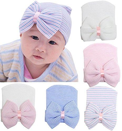 Gellwhu 5pcs Infant Baby Girls Striped Nursery Newborn Hospital Hat Cap with Big Bow (Hats For Wholesale)