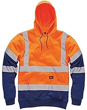 Mens Dickies High Visibility Viz Two Tone Hoodie Hooded Sweatshirt Safety Work