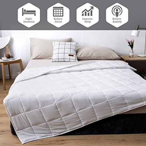 Cheap HOTNIU Weighted Blanket Cotton Heavy Blanket with Hypoallergenic Glass Beads for Kids & Adults - Great Sleep Therapy for Individuals with Anxiety Stress (60