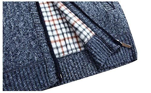 Punto Cardigan Slim Blau Manga Tops Collar Hombres Coat De Stand Invierno Ropa Fit Sweater Larga Los Otoño BwBTqr7