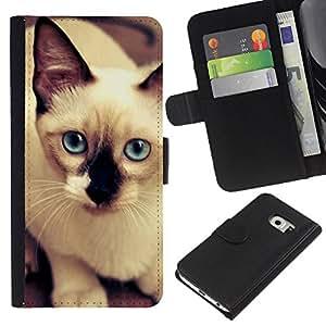 Siamese Thai Cat Balinese Blue Eyes - la tarjeta de Crédito Slots PU Funda de cuero Monedero caso cubierta de piel Samsung Galaxy S6 EDGE