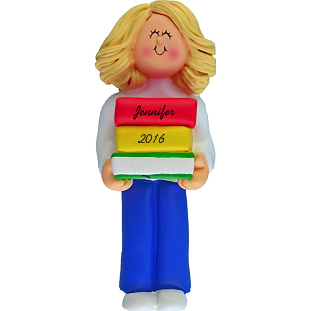 Reader Personalized Christmas Ornament - Girl - Blonde Hair - Handpainted Resin - 4.5'' Tall - Free Customization by Calliope Designs