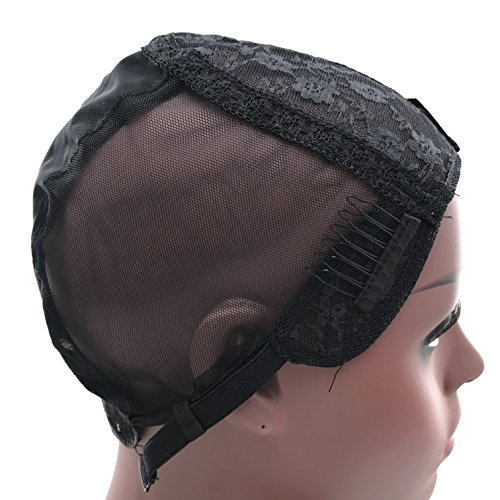 FDshine Full Wig Caps Double Lace for Making Wigs Glueless Cap with Adjustable Straps Sewed on Swiss Lace Wigs (Small Size, Black) by FDshine