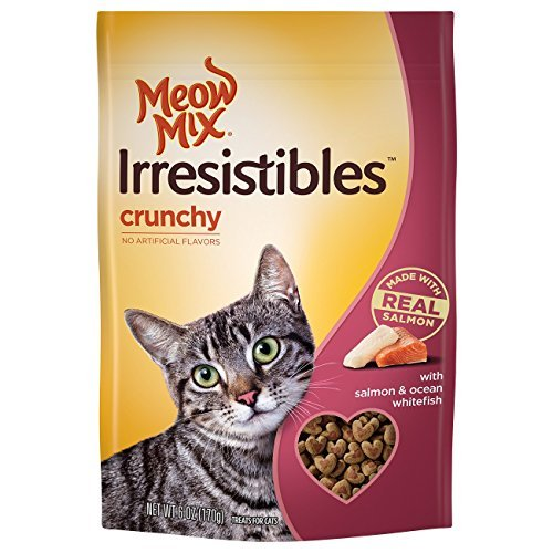 Meow Mix Irresistibles Crunchy Cat Treats with Real White Meat Salmon and Ocean Whitefish , 6 oz. by Meow Mix
