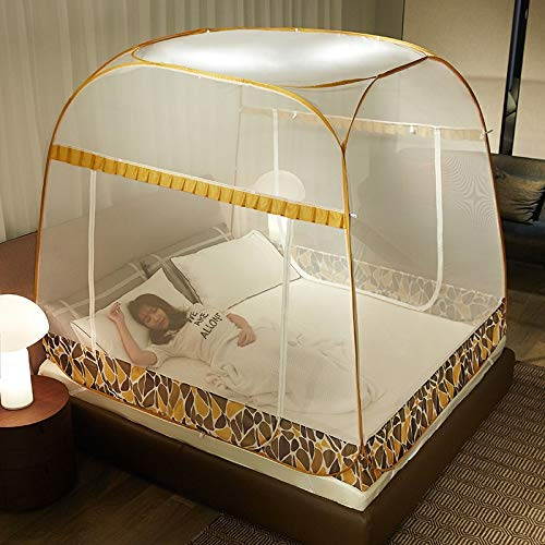 QIAOXINGXING Free Installation Mosquito net, Double Door Princess Wind Zipper Single Double Household Mosquito net JF (Color : F, Size : 200220CM)