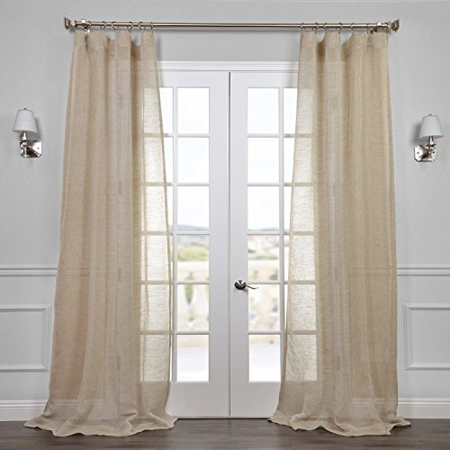 (HPD Half Price Drapes SHLNCH-J0106-84 Linen Sheer Curtain, 50 x 84, Open Weave Natural )