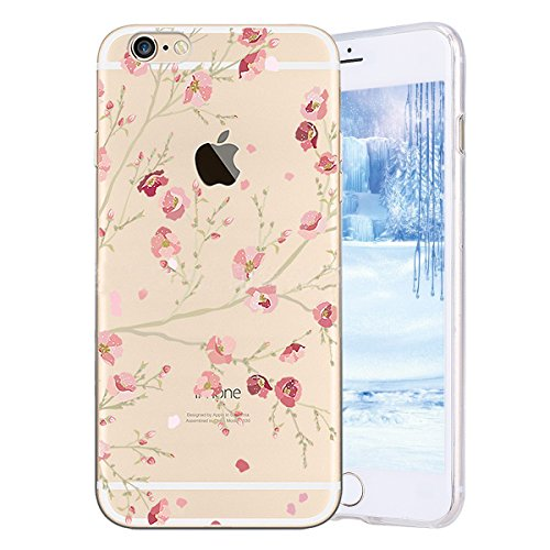 Case for iPhone 6 Plus / 6S Plus, PHEZEN Ultra Thin Soft Flexible TPU Silicone Back Cover Case with Peach Blossom Flower Pattern [Scratch Resistant] Bumper Case for iPhone 6/6S - Soft Blossom