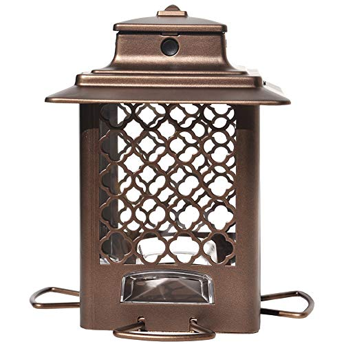 Stokes Select Bird Feeder, Metal Hopper Bird Feeder, 4 Feeding Ports, 3.6 lb Bird Seed Capacity, Copper Finish ()