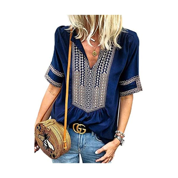 FARYSAYS Women's Boho Embroidered V Neck Long Sleeve Casual T-Shirt Tops Loose Blouse