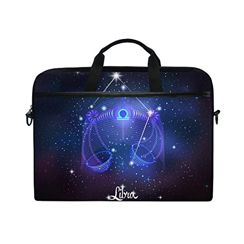Constellation Zodiac Sign Libra 14 Inch Laptop Shoulder Messenger Bag Case Sleeve Briefcase with Handle for Women Men
