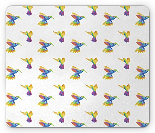 Price comparison product image Lunarable Hummingbird Mouse Pad by, Colorful Fantasy Tropical Bird Illustration of Sketch Exotic Colibri Design, Standard Size Rectangle Non-Slip Rubber Mousepad, Multicolor