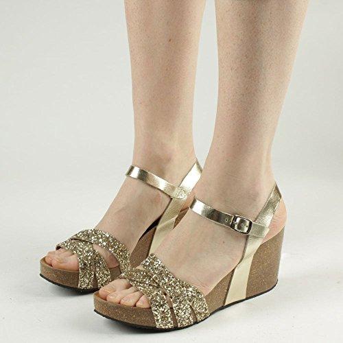 Gold Beverlywood Paillettes Cuir Metalic Sandale De Daniel Or Coin En gwa8x6q