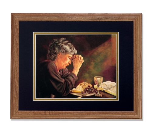 Gratitude Lady Praying at Dinner Table Daily Bread Grace Religious Wall Picture B/G Matted 13x16 Oak Framed Art Print