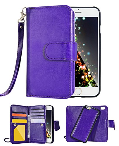 "iPhone 6 Case, Crosspace iphone 6s Flip Wallet Case Premium PU Leather 2-in-1 Protective Magnetic Shell with Credit Card Holder/Slots and Wrist Lanyard for Apple Iphone 6/6s 4.7"" (Smooth Purple)"
