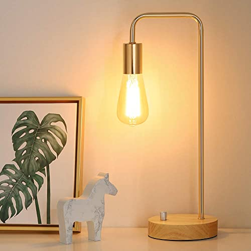 Edison Lamp, Industrial Table Lamp, Wood Desk Lamp for Dressers, Gold Nightstand Lamps for Bedside, Bedroom, College Dorm, Study Desk, Coffee Table Gold