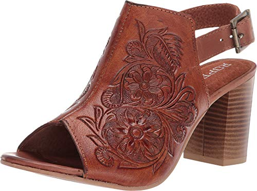 Roper Women's Tan Mika Floral Tooled Mule Sandal