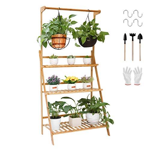 unho Estantería para Macetas de Bambú Escalera para Flores Plantas con 3 Niveles y Barra de Colgar Soporte para Macetas Exterior Interior Jardín 70 x 40 x 96cm: Amazon.es: Amazon.es