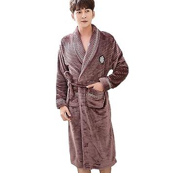 YANXH Albornoz De Felpa para Hombre, Sección Larga Media Mantón De Cuello Kimono Bata Baño