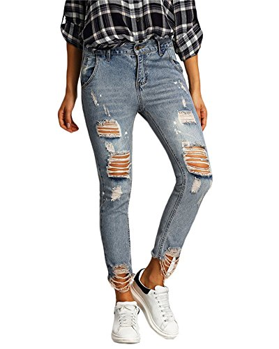 Pantaloni Strappati Scuro Zhuikun Vita A Denim Donna Blu Jeans Boyfriend Alta 15w8F
