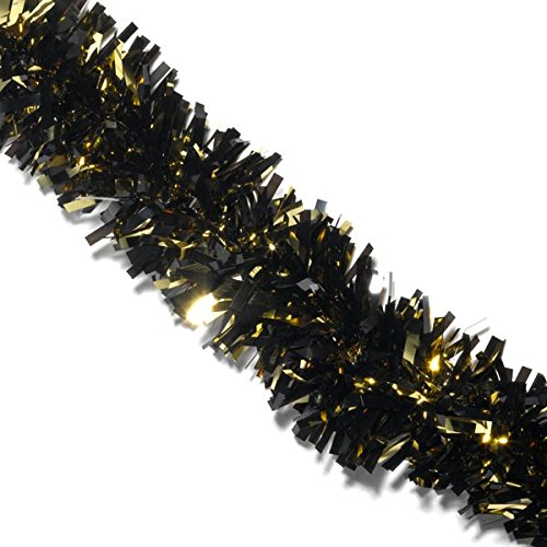 Black and Gold Metallic Twist Garland, 4 Inches x 4 Feet -
