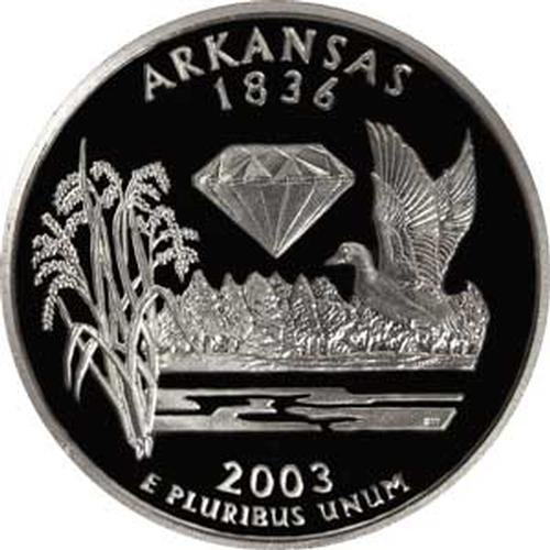 - 2003 Arkansas S Gem Proof State Quarter US Coin