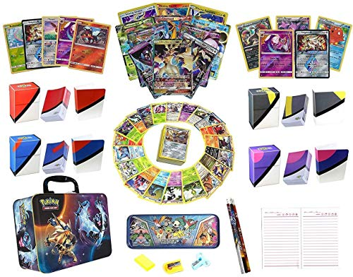 Totem World Pokemon Premium Collection Ultra Rare with 100 Pokemon Cards - 100 Sleeves - Deck Box - Binder - Stationary Kit with Storage Collector Chest Tin