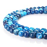 wanjin Natural Blue Stripe Agate Gemstone Round Loose Beads For Jewelry Making Findings /Accessories 1 Strand 15.5 inches -8mm