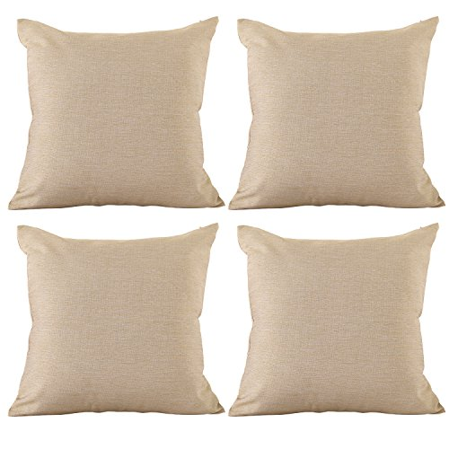 Deconovo Soft Pillow Cases Faux Linen Pillow Covers with Invisible Zipper Throw Cushions Covers for 18x18 Inch Beige 4 PCS (CASE ONLY, NO Insert)