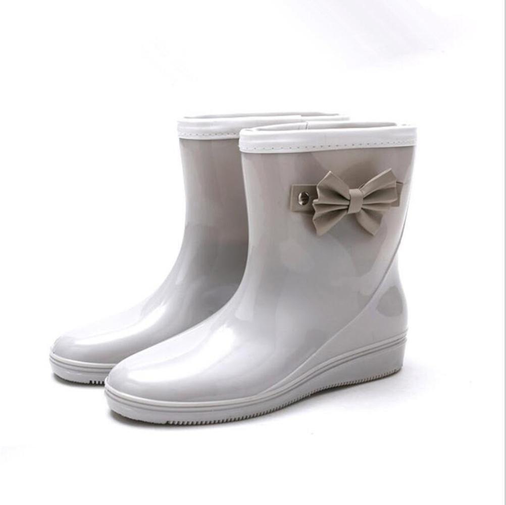 SIHUINIANHUA Frau Anti-Rutsch-Regen Stiefel Bogen Regen Stiefel Rohr Wasser Schuhe Schuhe Schuhe Schuhe grau 39 3bb68b