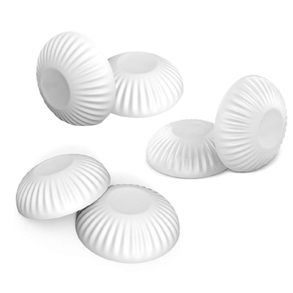 Door Knob Stopper 6 Pcs,Cheaboom Silicone Round Wall Protector Self Adhesive Wall Guards Stopper Door Handle Bumper Rubber Stop (White)