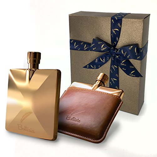 """""""Bottisia"""" Hip Flask Rose Gold Handmade,Father's Day Gift,Gift Set With Colorful Rope,Removed Genuine Leather Pouch,Velvet Bag, Buffed Funnel, 3oz Capacity, Best Holiday Gift For Your Favorite Man"""