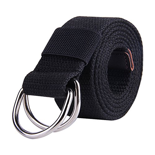 JINIU Men's Canvas Web Belt With Double D- Ring Buckle Military 1.5