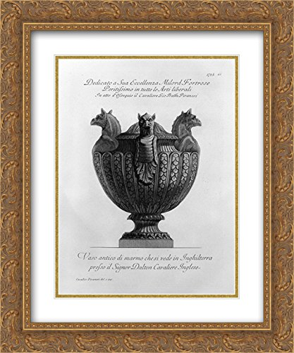 Giovanni Battista Piranesi 2X Matted 20x24 Gold Ornate Framed Art Print 'Vase with Ancient Marble Griffins and Ribbing'
