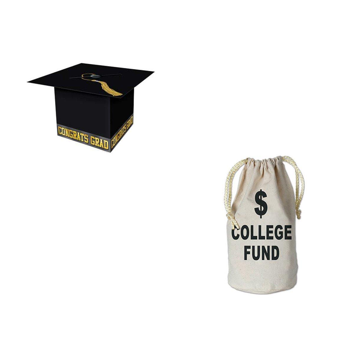WGI Graduation Party 8.5'' x 8.5'' Decor Grad Cap Card Box/Small College Fund Money Bag by WeGlow International