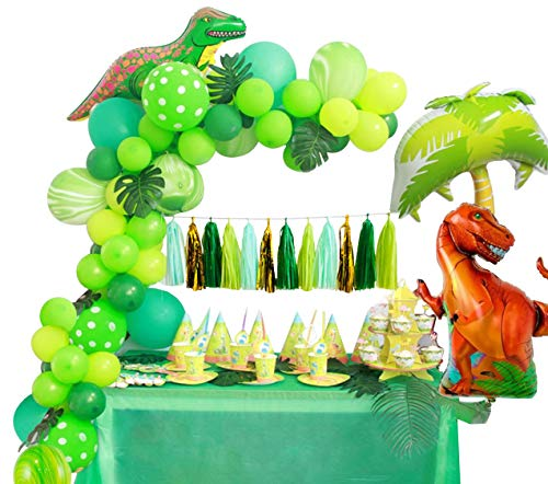 (Dinosaur Party Supplies Little Dino Party Decorations Set for Boy Jurassic World Park T Rex Birthday Balloons Arch Garland Kit Blow Up Dinosaurs Balloon)