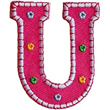 TrickyBoo Iron-On Letter Patch Craft Applique U Pink 5Cm For Names Crafts Jeans Clothing Fabric To Iron On Iron On Patches Personally Clothes Birthday Christening Birth Application Sports Football Cl