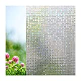 Xindinyi PVC No Glue Mosaic Privacy Window Film Sun Blocking Kitchen Decor Heat Insulation Anti UV Discoloration for Home Kitchen Office Bedroom Bathroom(17.3''x78.7'')