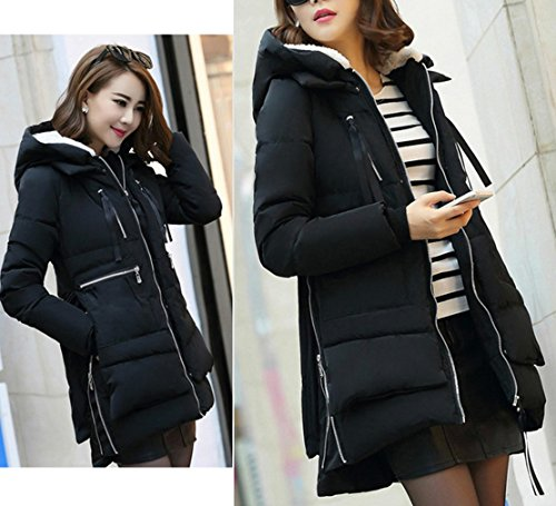 Bigood Jacket Zip Hooded Up Black Winter Korean Ladies Padded Down Women Coat 6qwrx61