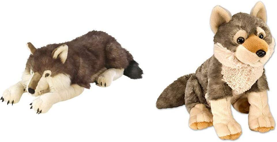 Wild Republic Jumbo Wolf Plush, Giant Stuffed Animal, Plush Toy, Gifts for Kids, 30 Inches & Wolf Plush, Stuffed Animal, Plush Toy, Gifts for Kids, Cuddlekins 12 Inches