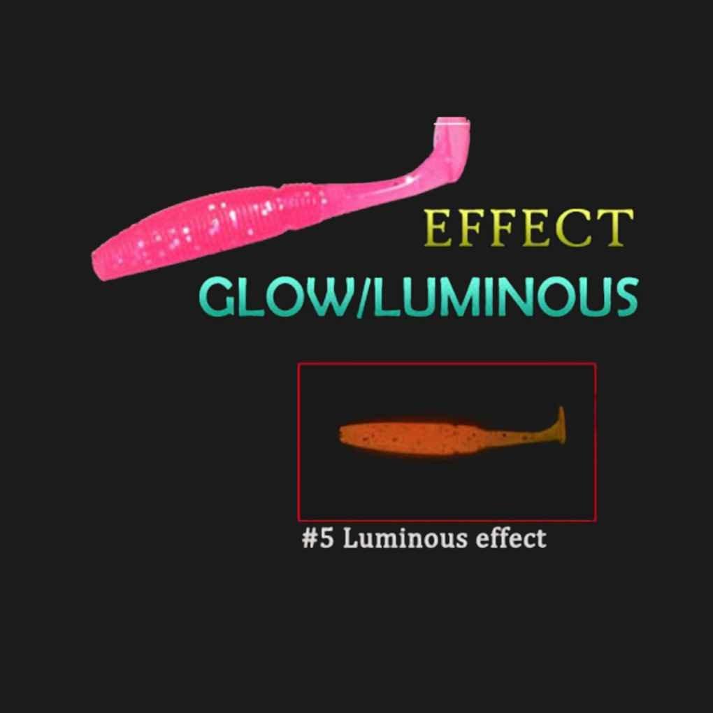Mengonee 15pcs//set Luminous Paddle Tail Soft Grubs 50mm 1g Glow T Tail Fishing Worm Lure Jig Head Soft Lure Bass Mandarin Fishing