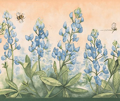 Cerulean Blue Flowers Bumble Bee Dragonfly Merigold Orange Wallpaper Border Retro Design, Roll 15' x 9