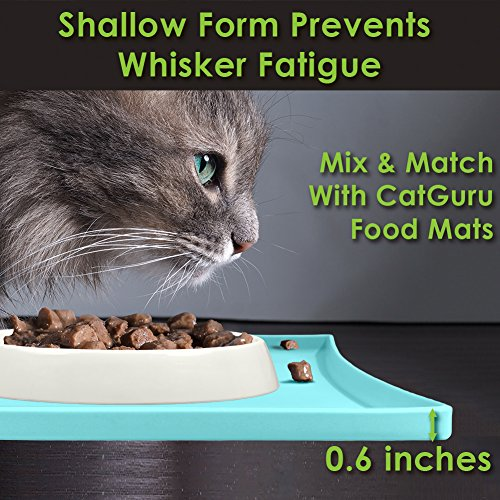 CatGuru NEW Premium Whisker Stress Free Cat Bowls, SET OF 2, Reliefs Whisker Fatigue, Wide Cat Dish, Non Slip Cat Feeding Bowls, Shallow Cat Bowls, Non Skid Pet Bowls For Cats, Oval, Marshmallow by CatGuru (Image #4)